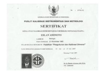 Calibrator certificate